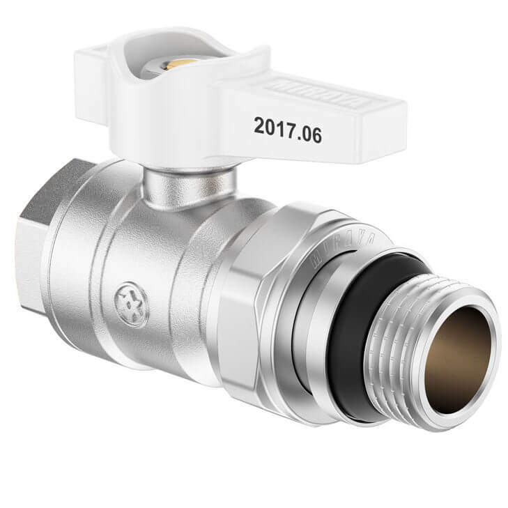 White Mini Lever Ball Valve with Union FxM, B series
