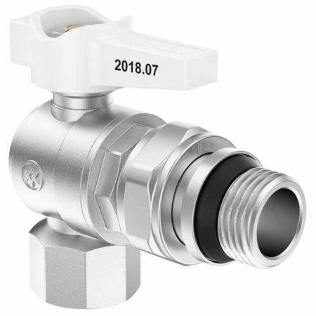 White Mini Lever Angle Ball Valve with Union FxM, B series
