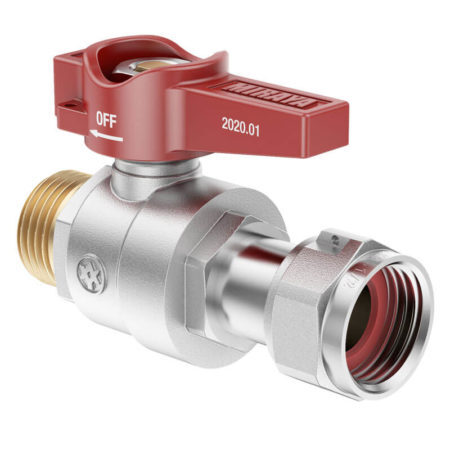 Mini Level Ball valve, with nut and gasket FxM, specific for under boiler use and for meters connection.